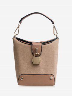 Color Block Lock Closure Bucket Bag - Khaki