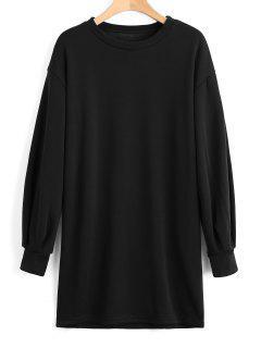 Long Sleeve Longline Casual Sweatshirt - Black S