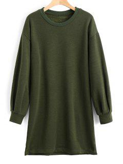 Long Sleeve Longline Casual Sweatshirt - Army Green L