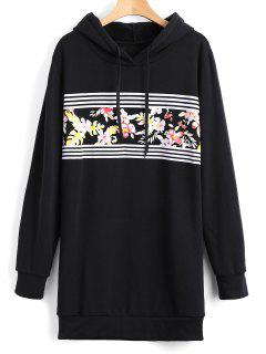 Longline Floral Stripes Panel Hoodie - Black L