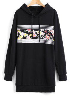 Longline Floral Stripes Panel Hoodie - Black S