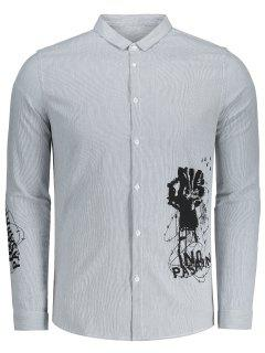 Printed Button Up Striped Shirt - Grey And White 3xl