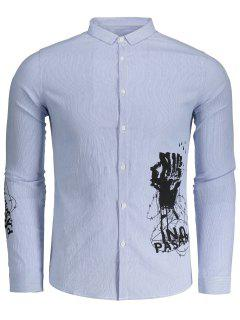 Printed Button Up Striped Shirt - Blue And White 2xl