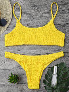 Smok-Bikinioberteil Und -hosen - Bläulich Gelb S