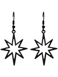 Geometric Alloy Hollow Out Pendant Earrings - Black