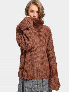 Curled Sleeve Oversized Turtleneck Sweater - Light Coffee