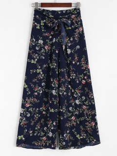 Bowknot Layered Wide Leg Pants - Floral