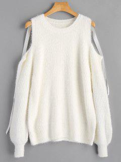 Lantern Sleeve Cold Shoulder Sweater - White