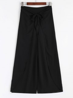 Bowknot Layered Wide Leg Pants - Black