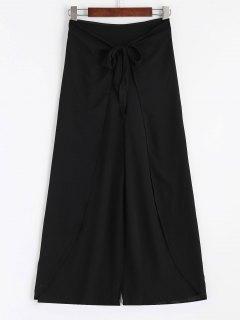 Bowknot Pantalones De Pierna Ampliada En Capas - Negro