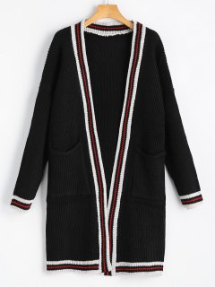 Contrasting Open Front Cardigan With Pockets - White And Black