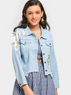 Flower Appliqued Frayed Hem Denim Jacket - Light Blue S