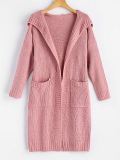 Hooded Pockets Open Front Cardigan - Pink
