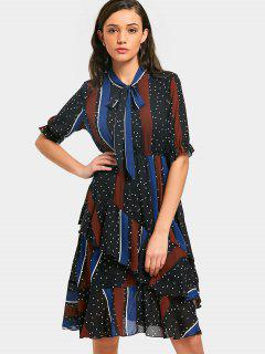Polka Dot Striped Ruffles Bowtie Robe - Multi