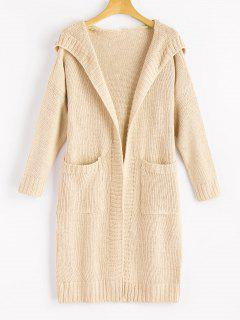 Hooded Pockets Open Front Cardigan - Apricot