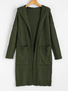 Hooded Pockets Open Front Cardigan - Army Green