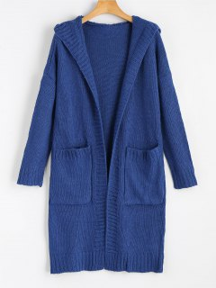 Hooded Pockets Open Front Cardigan - Blue