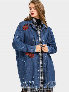 Blouson Brodé Brodé En Fleur Jean Coat - Denim Bleu S