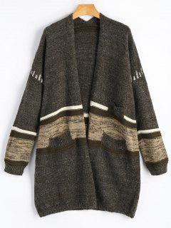 Open Front Back Slit Contrast Cardigan - Greyish Brown