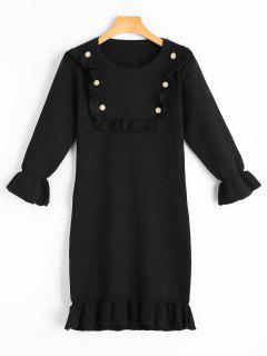 Beading Ruffled Flare Sleeve Knitted Dress - Black