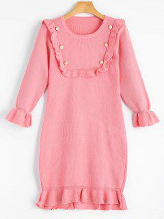 Beading Ruffled Flare Sleeve Knitted Dress - Pink