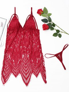 Scalloped Strappy Lace Babydoll - Red