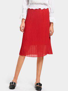 Falda Plisada De Cintura Alta - Rojo 2xl