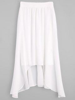 Lined Asymmetrical Chiffon Skirt - White S
