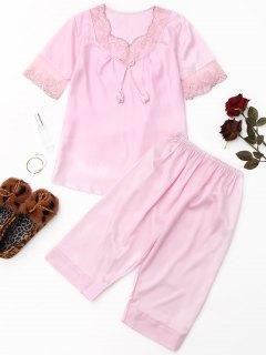 Mesh-Panel Satin Pyjama Set - Pink M