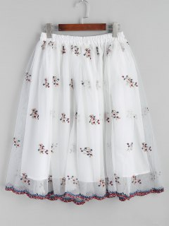 Mesh Floral Embroidered A Line Midi Skirt - White S
