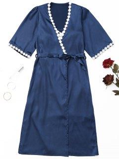 Wrapped Satin Night Robe Set - Purplish Blue M