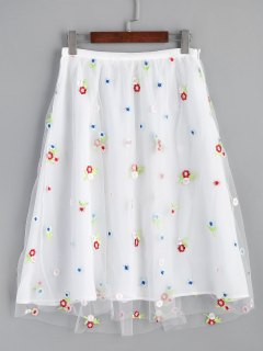 Mesh Lined Floral Embroidered Midi Skirt - White S