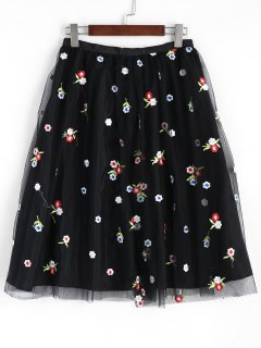 Mesh Lined Floral Embroidered Midi Skirt - Black L