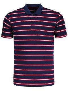 Media Camiseta Rayada Del Polo Del Botón - Rojo 2xl