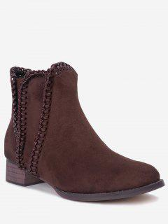 Low Heel Whipstitch Ankle Boots - Brown 36