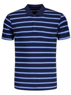 Striped Half Button Polo Tee - Blue 2xl