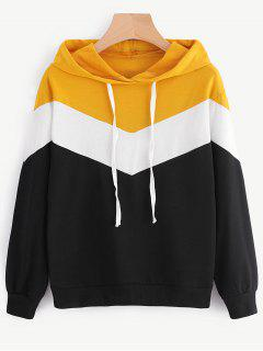 Drop Shoulder Drawstring Contrast Hoodie - Multi L