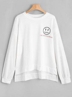 Oversize High Low Graphic Sweatshirt - White
