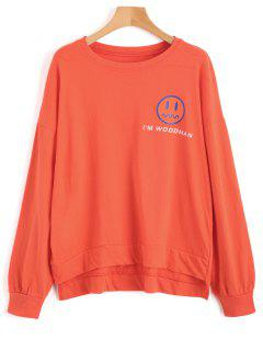 Oversize High Low Graphic Sweatshirt - Jacinth