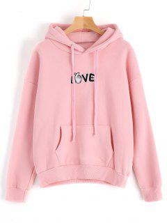 Fleeced Love Embroidered Hoodie - Pink