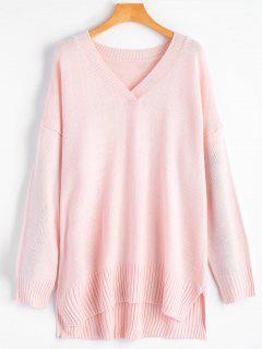 Side Slit Plain High Low Sweater - Light Pink