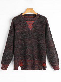 Cut Out Pullover Mit Seiten Schlitz Und Farbmischung - S