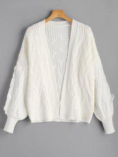 Lantern Sleeve Cable Knit Cardigan - White