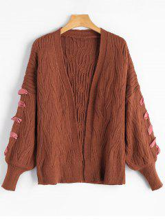 Lantern Sleeve Cable Knit Cardigan - Dark Auburn