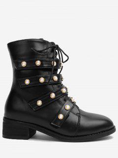 Front Tie Faux Pearl Accent Ankle Boots - Black 35