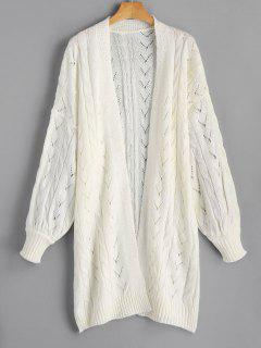 Hollow Out Cable Knit Longline Cardigan - Off-white