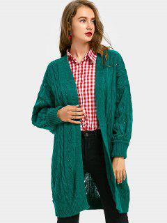 Hollow Out Cable Knit Longline Cardigan - Green