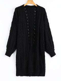 Hollow Out Cable Knit Longline Cardigan - Black