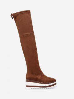 Wedge Heel Tie Back Over The Knee Boots - Brown 38