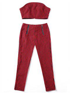 Plaid Tube Top With Zipper Pants - Red S